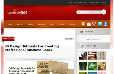 http://creativenerds.co.uk/tutorials/30-design-tutorials-for-creating-professional-business-cards/