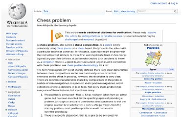 http://en.wikipedia.org/wiki/Chess_problem