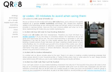 http://www.qre8.com/blog/marketing/qr-codes-10-mistakes-avoid-when-using-them