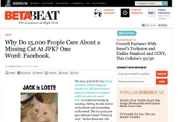 http://betabeat.com/2011/10/why-do-15000-people-care-about-a-missing-cat-at-jfk-one-word-facebook/