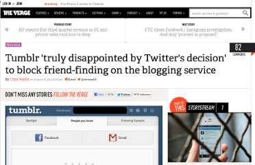 http://www.theverge.com/2012/8/22/3261270/tumblr-removes-twitter-find-people-you-know