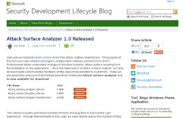 http://blogs.msdn.com/b/sdl/archive/2012/08/02/attack-surface-analyzer-1-0-released.aspx