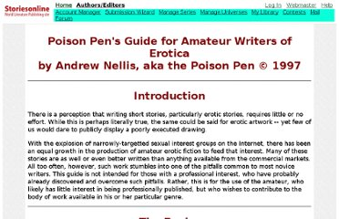 Poison Pen's Guide for Amateur Writers of Erotica :: Free Erotic Sex Stories