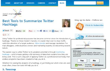 http://www.searchenginepeople.com/blog/best-tools-to-summarize-twitter-hashtags.html