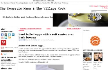 http://thevillagecook.com/hard-boiled-eggs-with-a-soft-center-over-hash-browns/