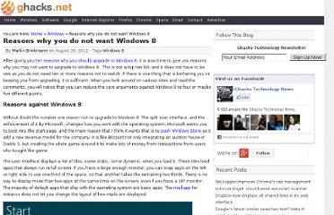 http://www.ghacks.net/2012/08/26/reasons-why-you-do-not-want-windows-8/