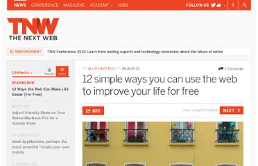 http://thenextweb.com/lifehacks/2012/08/26/12-tips-to-improve-your-life-for-free/