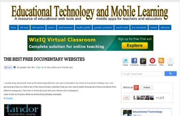 http://www.educatorstechnology.com/2011/07/best-free-documentary-websites.html#
