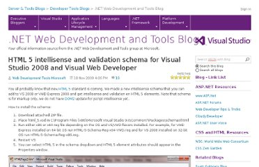 http://blogs.msdn.com/b/webdev/archive/2009/11/18/html-5-intellisense-and-validation-schema-for-visual-studio-2008-and-visual-web-developer.aspx