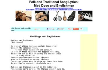 http://www.traditionalmusic.co.uk/folk-song-lyrics/Mad_Dogs_and_Englishmen.htm