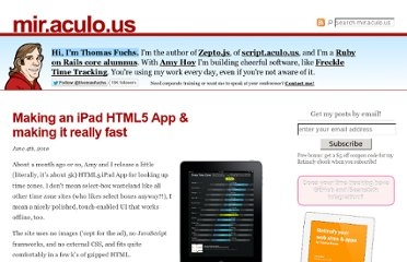 http://mir.aculo.us/2010/06/04/making-an-ipad-html5-app-making-it-really-fast/