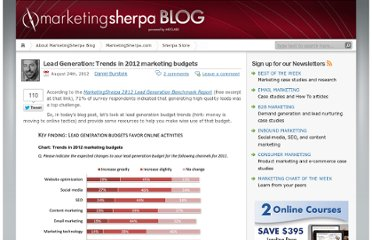http://sherpablog.marketingsherpa.com/b2b-marketing/lead-gen/lead-generation-budget-trends/