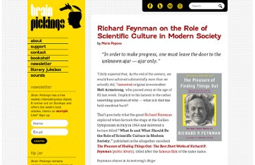 http://www.brainpickings.org/index.php/2012/08/27/richard-feynman-on-the-role-of-scientific-culture-in-modern-society/