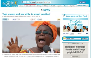 http://thegrio.com/2012/08/27/togo-women-push-sex-strike-to-unseat-president/