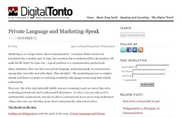 http://www.digitaltonto.com/2009/private-language-and-marketing-speak/