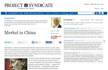 http://www.project-syndicate.org/commentary/merkel-in-china-by-sanjaya-baru
