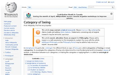 http://en.wikipedia.org/wiki/Category_of_being