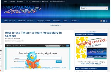 http://fairlanguages.com/how-to-use-twitter-to-learn-vocabulary-in-context/