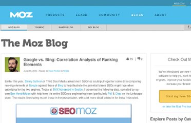 http://www.seomoz.org/blog/google-vs-bing-correlation-analysis-of-ranking-elements