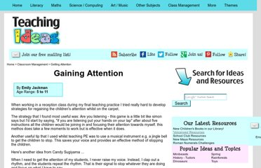 http://www.teachingideas.co.uk/more/management/gainingattention.htm