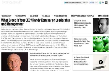 http://www.fastcompany.com/1674779/what-breed-your-ceo-randy-komisar-leadership-and-management