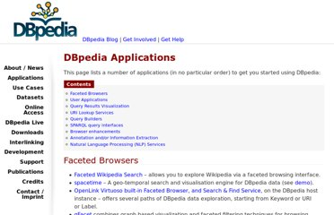 http://wiki.dbpedia.org/Applications
