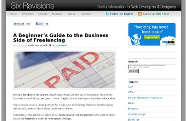 http://sixrevisions.com/project-management/a-beginners-guide-to-the-business-side-of-freelancing/