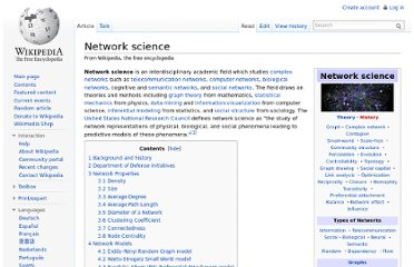 http://en.wikipedia.org/wiki/Network_science