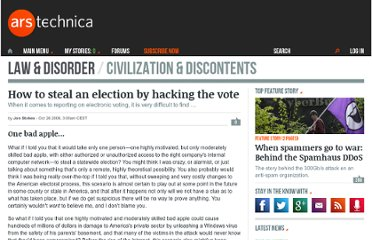 http://arstechnica.com/tech-policy/2006/10/evoting/