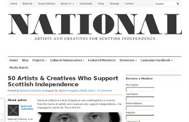 http://nationalcollective.com/2012/08/30/50-artists-creatives-who-support-scottish-independence/