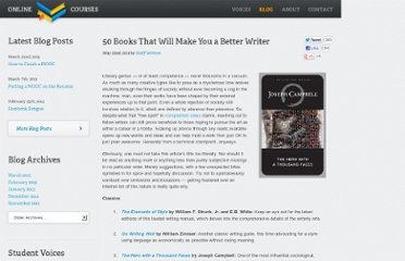 http://www.onlinecollegecourses.com/2011/05/22/50-books-that-will-make-you-a-better-writer/