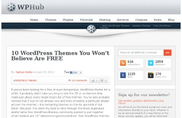 http://www.wphub.com/10-free-wordpress-themes/