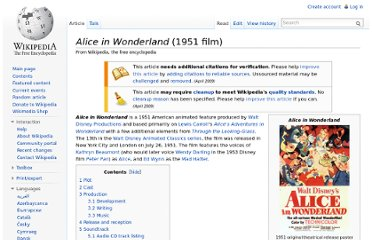 http://en.wikipedia.org/wiki/Alice_in_Wonderland_(1951_film)