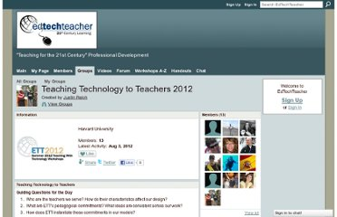 http://edtechteacher.ning.com/group/teaching-technology-to-teachers-2012