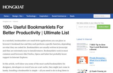 http://www.hongkiat.com/blog/100-useful-bookmarklets-for-better-productivity-ultimate-list/