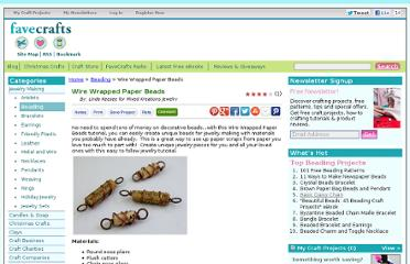 http://www.favecrafts.com/Beading/Wire-Wrapped-Paper-Beads/ml/1