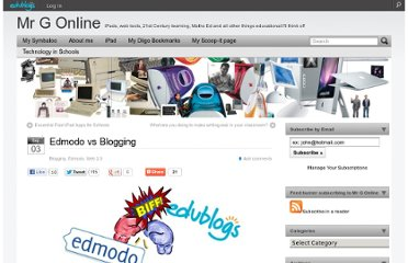 http://mgleeson.edublogs.org/2012/09/03/edmodo-vs-blogging/