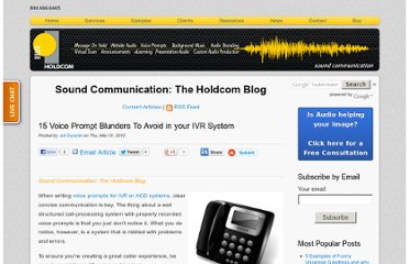 http://soundcommunication.holdcom.com/bid/82579/15-Voice-Prompt-Blunders-To-Avoid-in-your-IVR-System