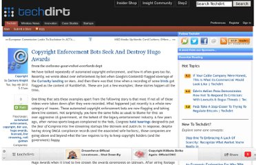 http://www.techdirt.com/articles/20120903/18505820259/copyright-enforcement-bots-seek-destroy-hugo-awards.shtml