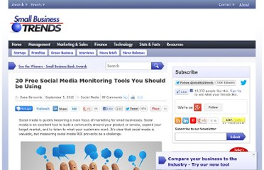 http://smallbiztrends.com/2012/09/20-free-social-media-monitoring-tools.html