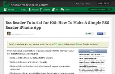 http://www.raywenderlich.com/2636/how-to-make-a-simple-rss-reader-iphone-app-tutorial