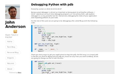 http://sontek.net/blog/detail/debugging-python-with-pdb