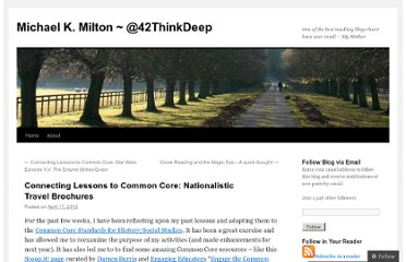 http://michaelkmilton.com/2012/04/17/connecting-lessons-to-common-core-nationalistic-travel-brochures/