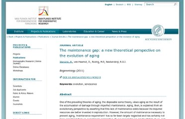 http://www.demogr.mpg.de/en/projects_publications/publications_1904/journal_articles/the_maintenance_gap_a_new_theoretical_perspective_on_the_evolution_of_aging_4275.htm