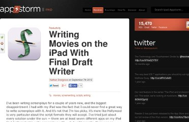 http://ipad.appstorm.net/reviews/productivity/writing-movies-on-the-ipad-with-final-draft-writer/