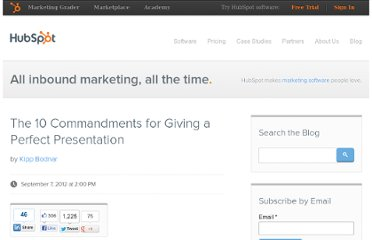 http://blog.hubspot.com/blog/tabid/6307/bid/33553/The-10-Commandments-for-Giving-a-Perfect-Presentation.aspx