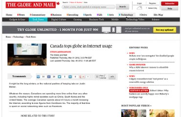http://www.theglobeandmail.com/technology/tech-news/canada-tops-globe-in-internet-usage/article551593/