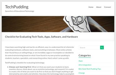http://techpudding.com/2011/04/04/checklist-for-evaluating-technology-software-and-applications/