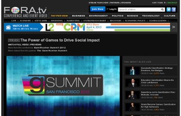 http://fora.tv/2012/06/20/Good_Gaming_Millennial_Moms__Competitive_Collaboration#The_Power_of_Games_to_Drive_Social_Impact