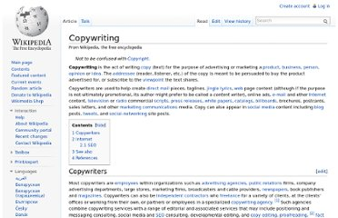 http://en.wikipedia.org/wiki/Copywriting